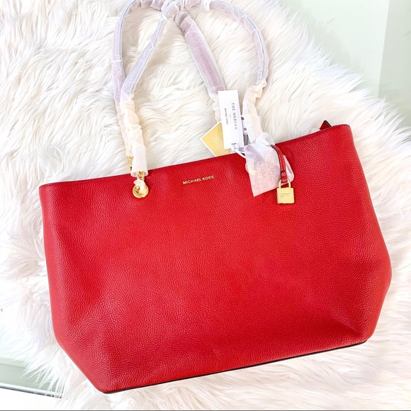 Michael Kors Handbags - Michael Kors The Mercer Large Red Tote